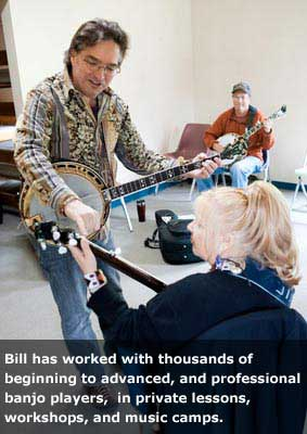 Bill Evans and students in a banjo workshop